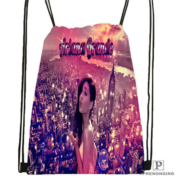 Custom Ariana-grande Drawstring Backpack Bag Cute Daypack Kids Satchel (Black Back) 31x40cm#2018612-01-5