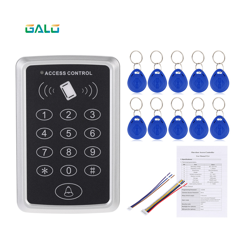 Home Security 125KHz Single RFID Card Proximity Entry Door Lock Access Control System With 10pcs RFID Keys Key Fob waterproof security rfid proximity entry door lock access control system no keypad 125khz reader 100 keys rfid access control