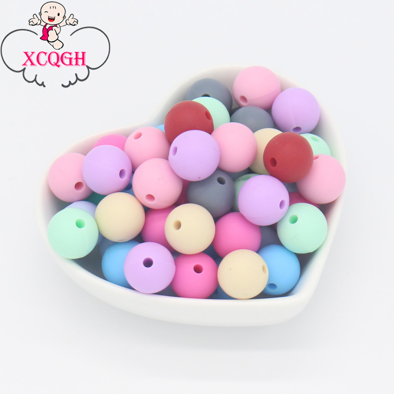 XCQGH 50Pcs 12mm Silicone Baby Teether Round Beads Bpa Free Chewable Silicone Beads For Jewelry Making Diy Teething Toys Gift