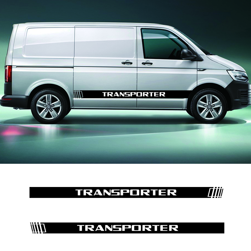 2 PCS Vinyl Car Styling Transporter Side Skirt Sticker Decals Stripe Wraps Body Stickers For Volkswagen Transporter
