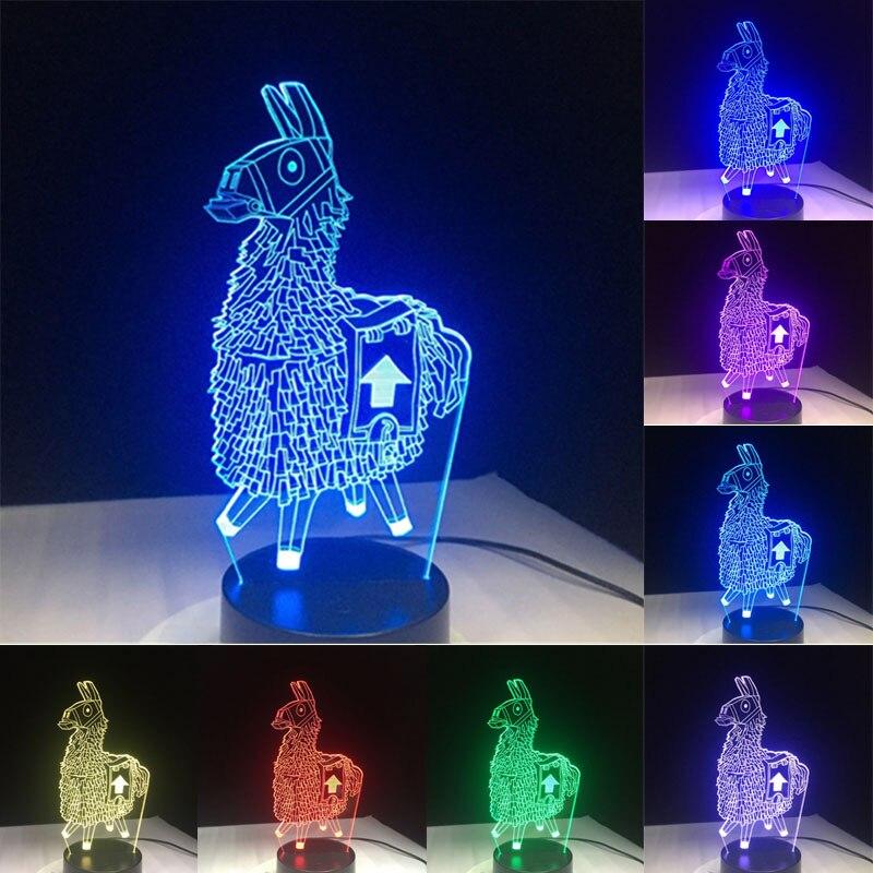 3D Cartoon Animal Llama Night Light 7 Colors LED Desk Lamp Home Room Decor Gift SDF-SHIP