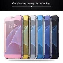 Pour Samsung Galaxy S6 Bord Plus Cas De Luxe Dur À Puce En Plastique miroir Clair Flip Couverture de Téléphone Pour Samsung Galaxy S6 S6 bord