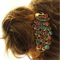 Free Shipping 1 Pcs New Ladies Vintage Colorful Rhinestone Peacock Barrette Hairpin Hair Clip