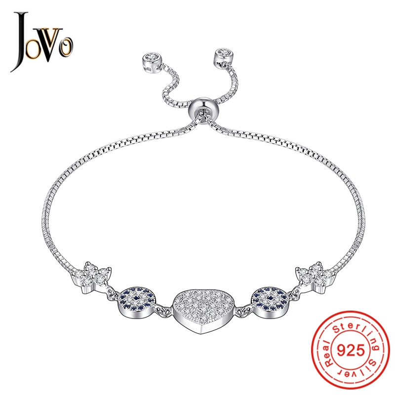 JOVO 925 Sterling Silver Bracelets for women Fashion heart flower little zircon chain adjustable Fine Jewellery
