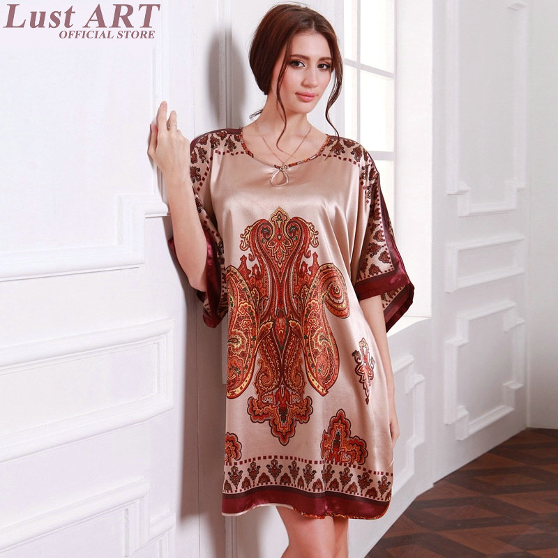 Women homewear satin vintage floral robe ladies elegant short sleeve floral silk satin nightgowns new women sleepers AA299