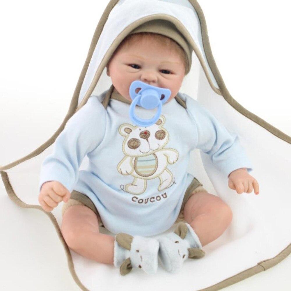 55/42 cm Reborn Baby Doll Soft Silicone Vinyl Cloth Body kids Playmate Gift For Girls Handmade Baby Lifelike Toys  Doll boneca