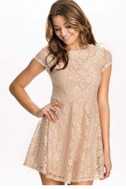 93c4251f0bdfb8 2016 Women Lace Skater Dress Sweet Girl Cute Lace Fashion Female Beige Club  Wear Casual Fabulous Short Sleeves