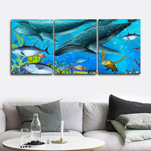 Laeacco Canvas Calligraphy Painting Wall Artwork Shark Sea Animal Posters and Prints Home Decoration Baby Bedroom Living Room