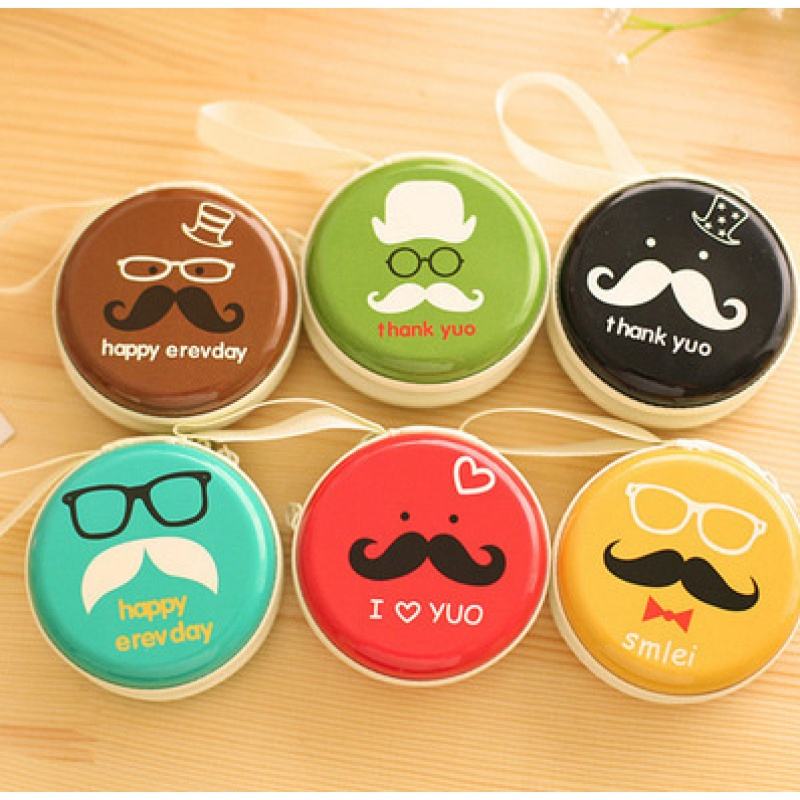 Kawaii Candy Color Girls Coin Purse Cute Cartoon Printing Portable Mini Round Key Bags Earphone Holder Change Pouch Wallets 5