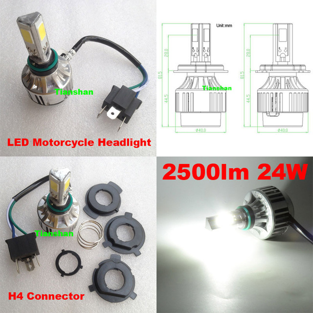 super bright h4 led headlight bulb hi/lo beam 9003 h4-3 motorcycle headlamp  24w 2500lm cob led front lamp xenon white 6500k