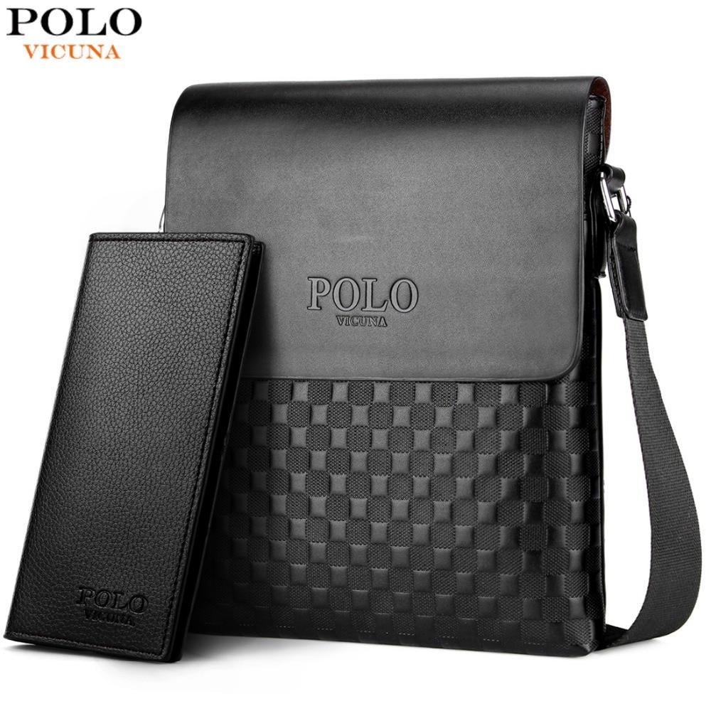 Vicuña POLO clásico diseño Plaid hombre de negocios Vintage bolso de marca para hombre mensajero bolsa de red bolso de hombro para hombre bolsa caliente