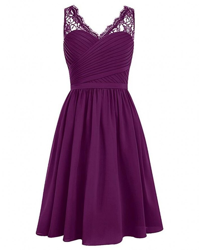 Cheap grape v neck short bridesmaid dresses lace shoulder for Cheap chiffon wedding dresses