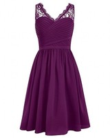 Cheap Grape V Neck Short Bridesmaid Dresses Lace Shoulder Sleeveless Chiffon Wedding Party Dresses Robe Demoiselle