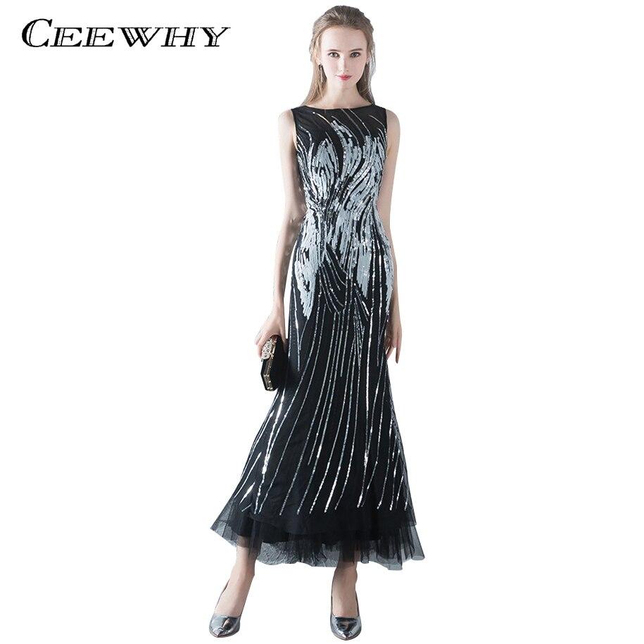 Ceewhy Чай-длина Выпускные платья блестками Вечеринка платье роскошный черный вечернее платье Vestido De Festa Longo торжественное платье