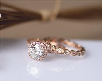 DUPUY 14K Rose Gold Engagement Ring Set 6.5mm Round Cut Forever Classic Ring Art Deco Full Eternity Diamonds Wedding Ring Set 1