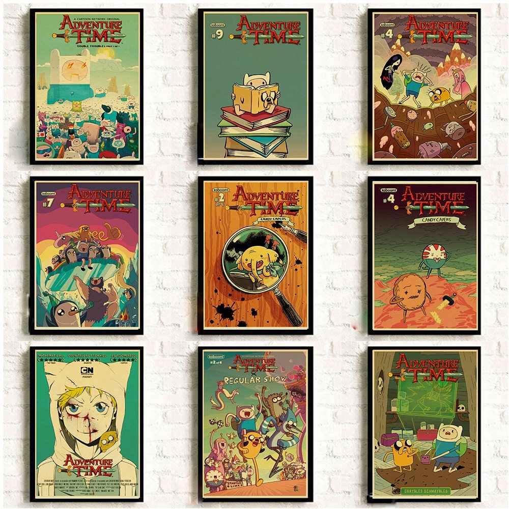 adventure time with finn and jake vintage poster cartoon posters and prints art cute wall sticker for kid s room home decor