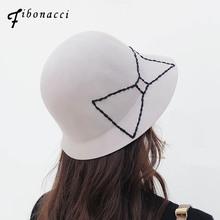 1c8c47d1fb8 Fibonacci 2018 New Elegant Women Fedoras Wool Felt Hat Floral Bow Dome  Bucket Autumn Winter Hats