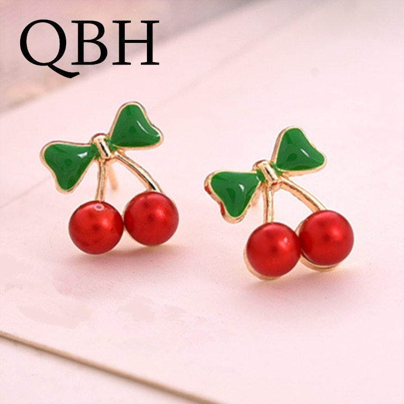 Pendientes Boucles Hot Sale New Style Fashion Cute Sweet Red Cherry Stud Earrings For Women Jewelry Accessories