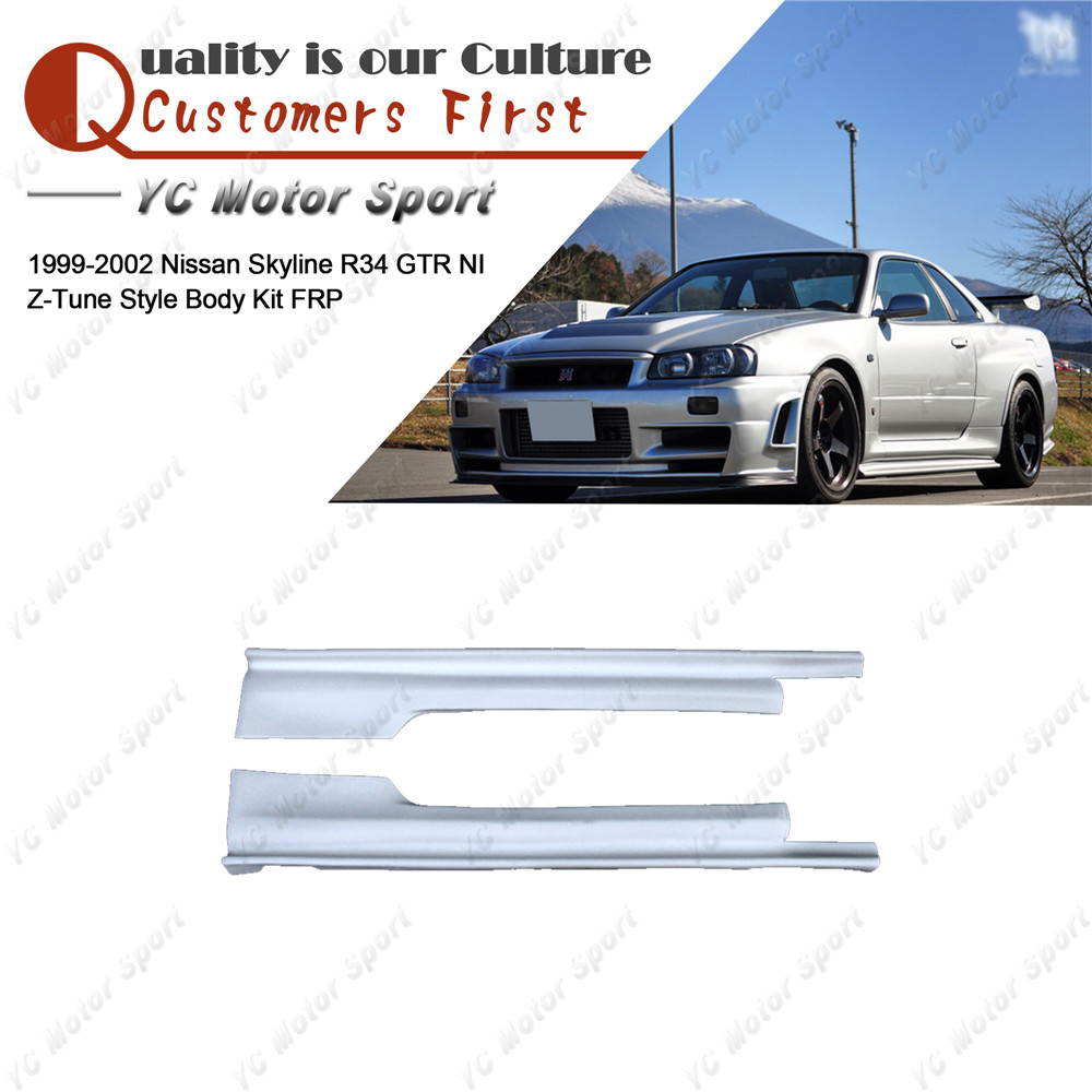 Car Accessories FRP Fiber Glass NI Z-T Style <font><b>Side</b></font> <font><b>Skirts</b></font> Fit For 1999-2002 Skyline <font><b>R34</b></font> <font><b>GTR</b></font> <font><b>Side</b></font> <font><b>Skirt</b></font> Cover image