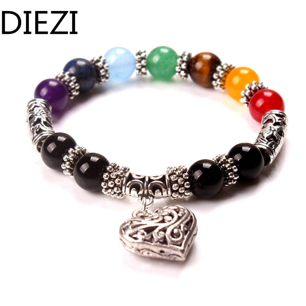 DIEZI новый для мужчин женщин 7 чакра браслеты цвета смешанные исцеления Кристаллы Камень Чакра молиться мала сердце браслет ювелирн