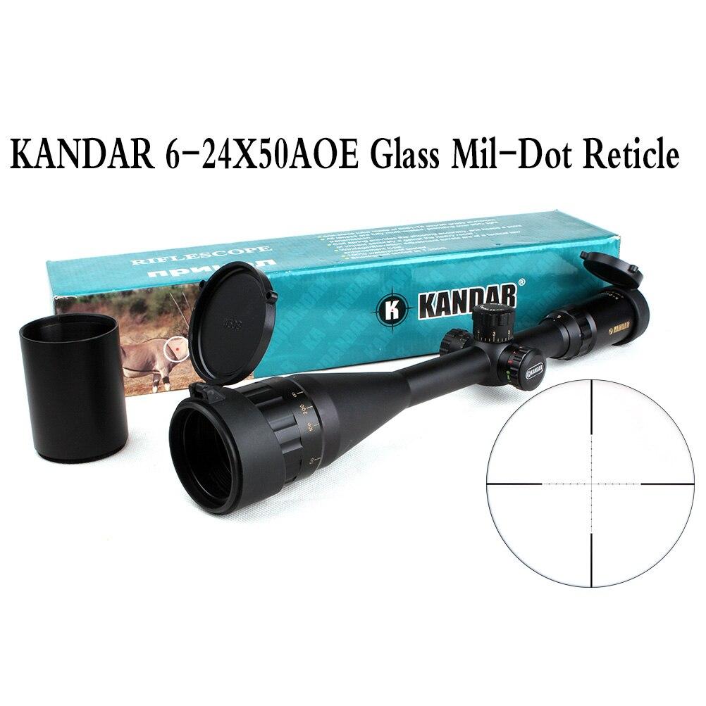 전술 광학 시력 골드 에디션 KANDAR 6-24x50 AOME 유리 밀 도트 레티클 잠금 라이플 스코프 사냥 용 라이플 스코프