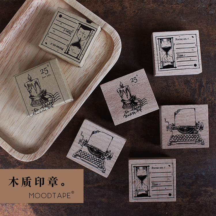 Retro Typewriter Hourglass Candlelight Creative Seal Stamp Wood And Rubber Seal Log Rubber Stamp Decorative Dairy Book Escolar