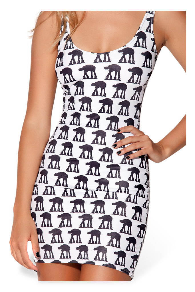 Star War AT AT Walker Robot Map Bodycon Off Shoulder Silky Shiny One ...