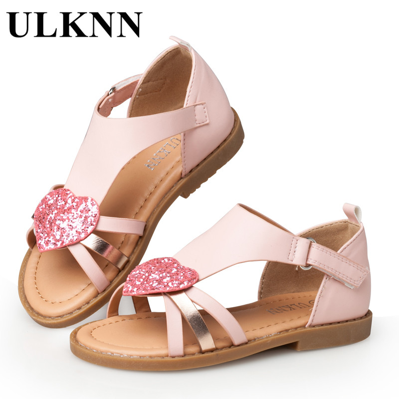 ULKNN Children Shoes Girls Sandals Red Heart Shaped Pink Cut-outs Sandals Flat Open-toe School Shoes Breathable Kids Sandals qiutexiong beach kids sandals girls summer shoes boys sandals children shoes open toe casual school breathable sport leather