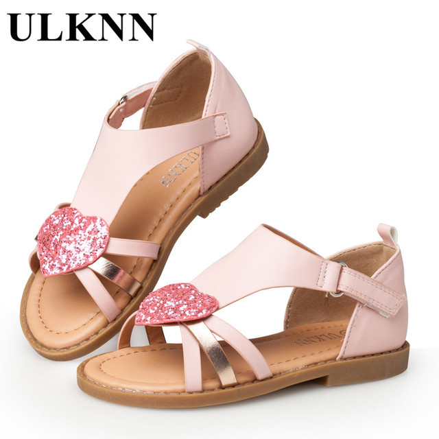 ULKNN Children Shoes Girls Sandals Red Heart Shaped Pink Cut-outs Sandals  Flat Open-toe School Shoes Breathable Kids Sandals 3c31e34a4229