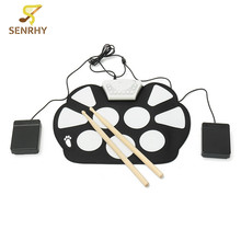 6Pcs/set Silica Gel Electronic Foldable Portable Roller Up USB Drum Kit with Drum Sticks Electric Musical Practice Instrument