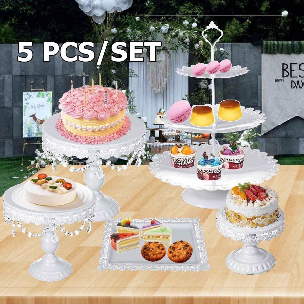 Ensemble de support de gâteau de mariage blanc 5 pcs pièces support de cupcake barware décoration cuisson outils de gâteau ustensiles de cuisson ensemble de vaisselle de fête