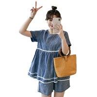 Women Summer Two Pieces Short Suits Sets Female Casual Denim Top And Short 2PCS Suit Set Blue Jean Twinset Outfits Plus Size