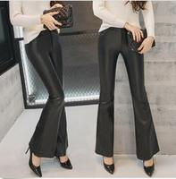 Black Women's Faux Leather Flared High Waist Pants Fashion Bell Bottom Trousers Yifsion