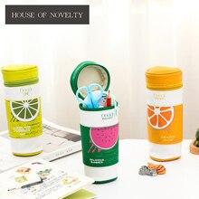Чашки Дизайн фрукты Творческий PU большой Ёмкость Карандаш сумка для хранения канцелярских организатор случае поставка школы