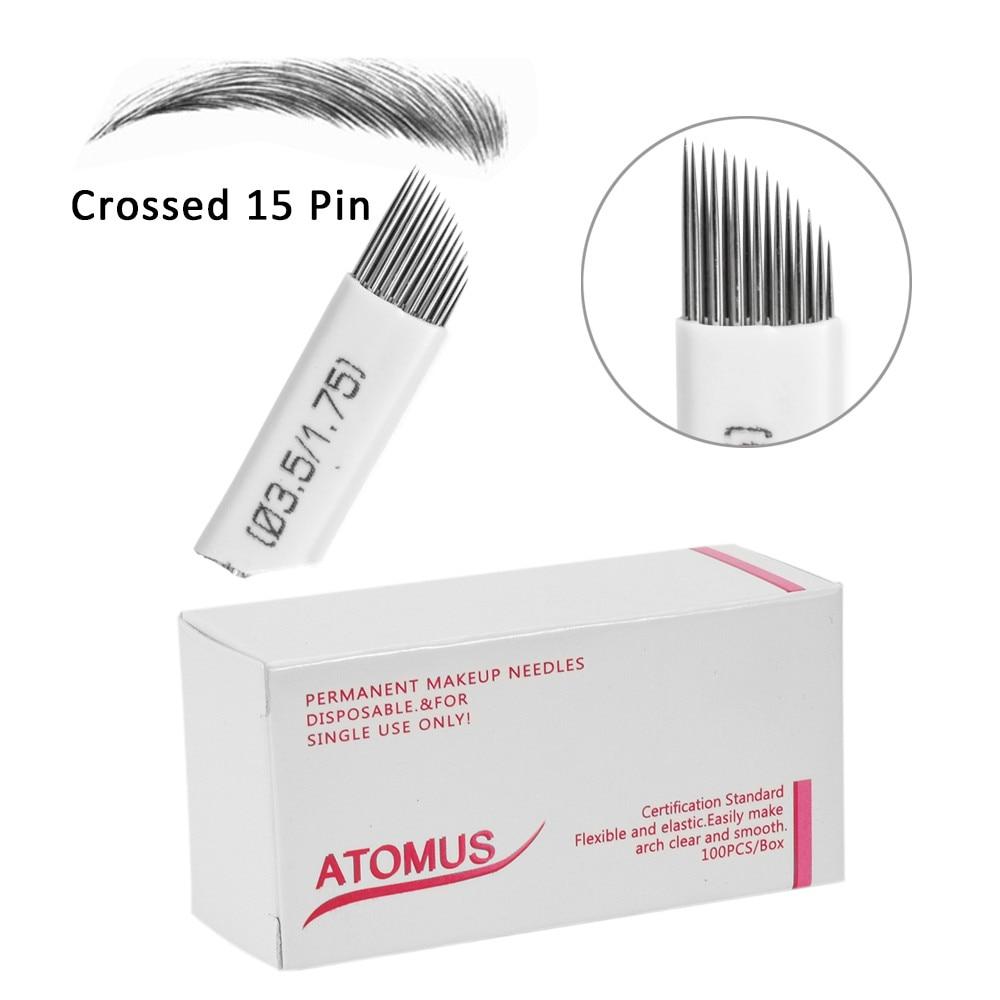 100pcs Tattoo Needles Shading Blades 15 Pins 21 Fog Eyebrow Lips Double Row Microblading Needles 15M1 Agulhas Tebori Permanent