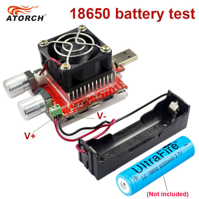 ATORCH 3.7V 18650 Battery Aging Discharge Test 35W Constant Current Dual Adjustable Knob Load Tester DC USB Tester 0.1-4.5A