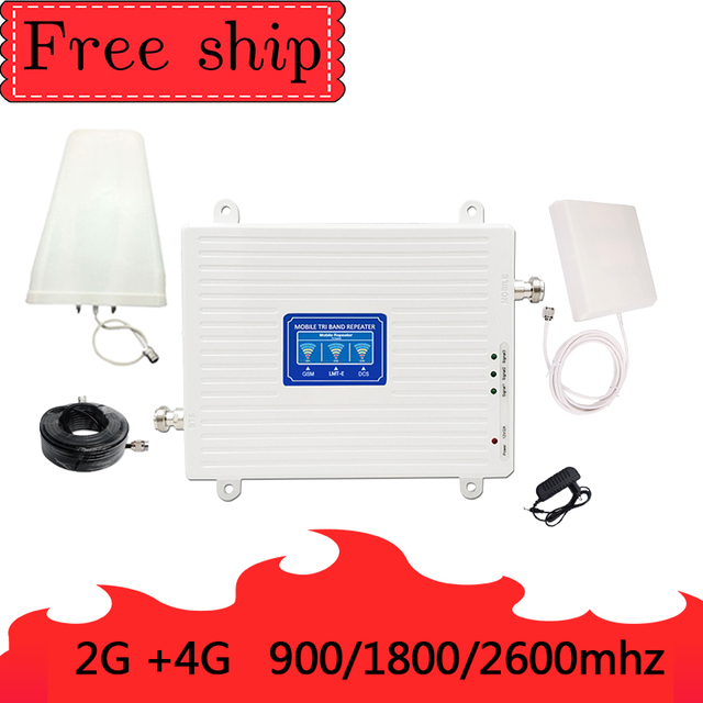 900/1800/2600 Mhz 2G 3G 4G Mobile Phone Repeater 4G 2600Mhz  Cellular Signal Booster Amplifier 70db Gain