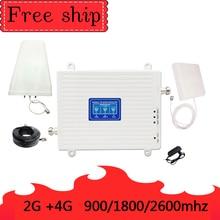 900/1800/2600 Mhz 2G 3G 4G cep telefonu tekrarlayıcı 4G 2600 Mhz cep sinyal güçlendirici amplifikatör 70db kazanç