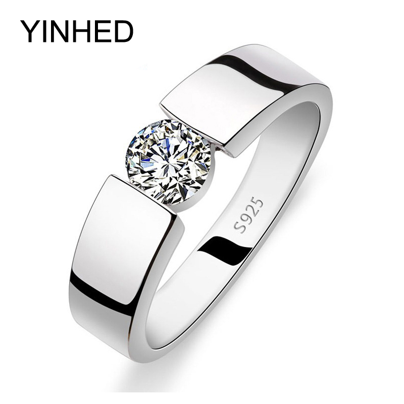 YINHED Wedding Rings for Men and Women Real 925 Sterling Silver Ring 1 Carat CZ Diamant Crystal Jewelry Finger Ring ZRD10