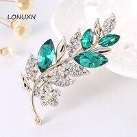 Outside Trade Clothing Crystal Leaves Brooch Pin Brooch Scarf Buckle Custom
