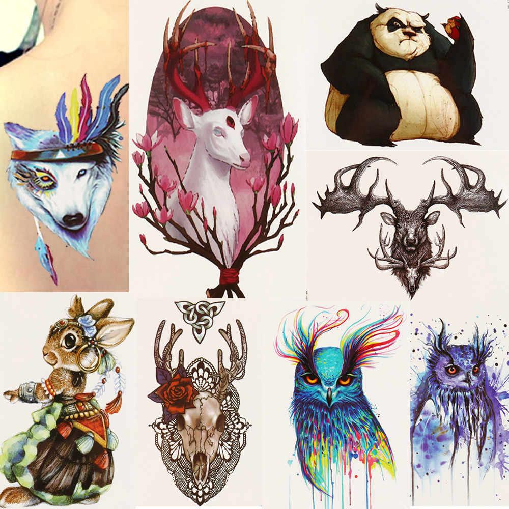 Tatuajes Temporales tatuaje papel falso dibujos animados animales pegatinas de cuerpo a prueba de agua