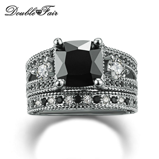 Top Quality Square Cut Black Nano Crystal Rings Sets Cubic Zirconia Silver Color Party Fashion Brand Women Jewelry DFR617