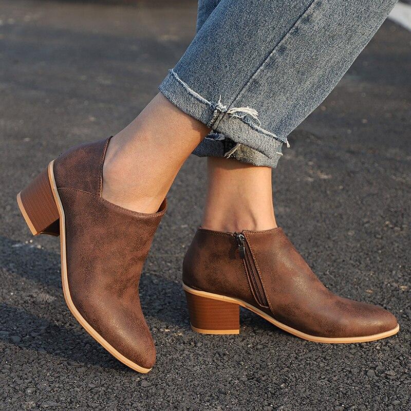 19facaca Tacones Primavera Zapatos Tamaño Khaki Moda Invierno marrón Confort Más Mujer  Joven azul Cremallera Casual Botas ...