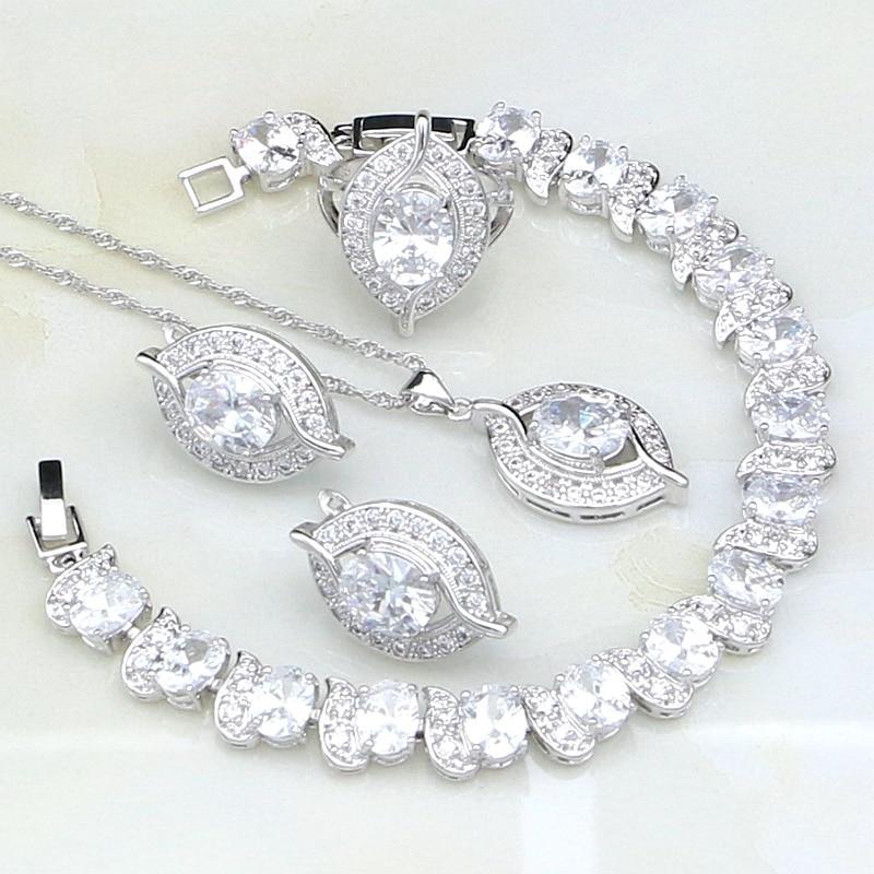 Eye White Cubic Zirconia Bridal 925 Sterling Silver Jewelry Sets For Women Wedding Bracelets/Necklace/Pendant/Earrings/Ring