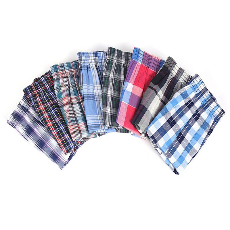 Mens Panties 8 Pcs/lot Men Underwear Cotton Classic Plaid Boxers Loose Shorts Men's Panties Breathable Home Boxer Homme