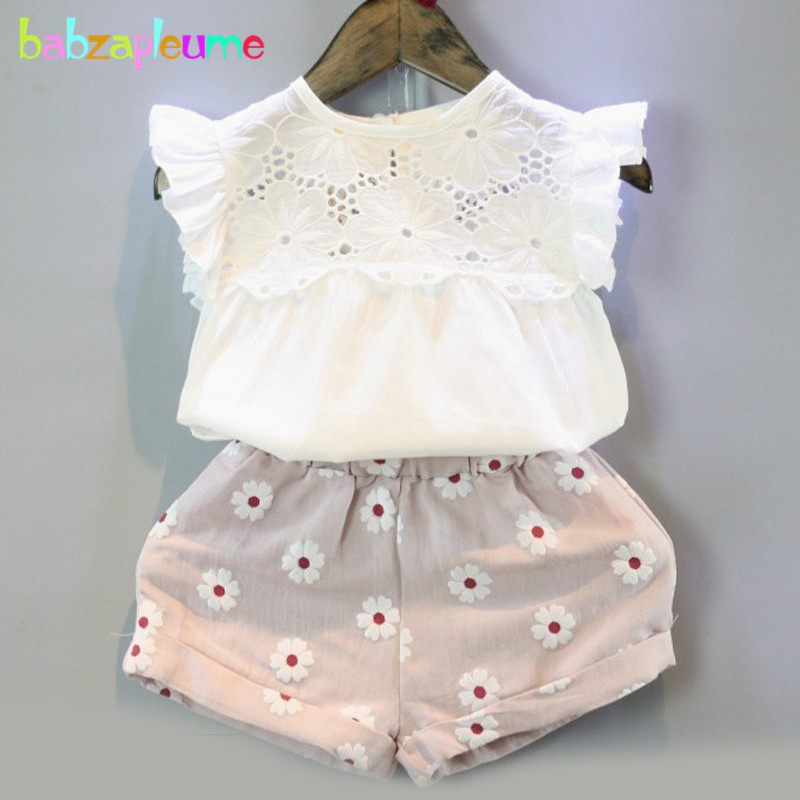 2016 Summer Brand Kids Clothes Sweet Children Clothing Set Hollow Design Vest+Shorts 2pcs Baby Girls Suits infant Outfit BC1432 baby girls summer clothing girls july 4th anchored in god s word shorts clothes kids anchor clothing with accessories