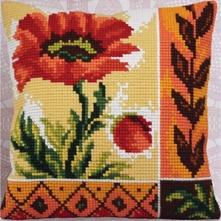 Вышивка крестом подушки с маком