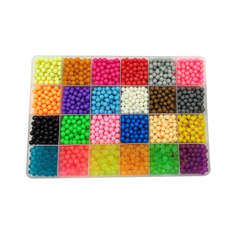 6000 piezas 24 colores recarga Aquabeads rompecabezas de cristal Aqua granos DIY de spray de agua de juegos de pelota 3D hecho a mano juguetes Juguetes para los niños