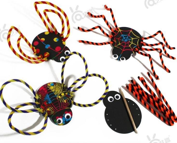 5 PCs Kids Child cartoon scraping paintings/ Children DIY Halloween spider insect decoration toys/ Kindergarten handmade craft