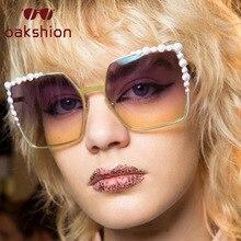 Oakshion Women Oversized Pearl Frame Cat Eye Sunglasses Lady Retro Rhinestone Square Bling Sun Glasses Oculos de sol 2018 Trend